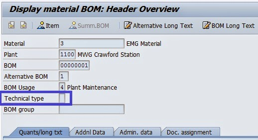 How To Get Technical Type Of Bom