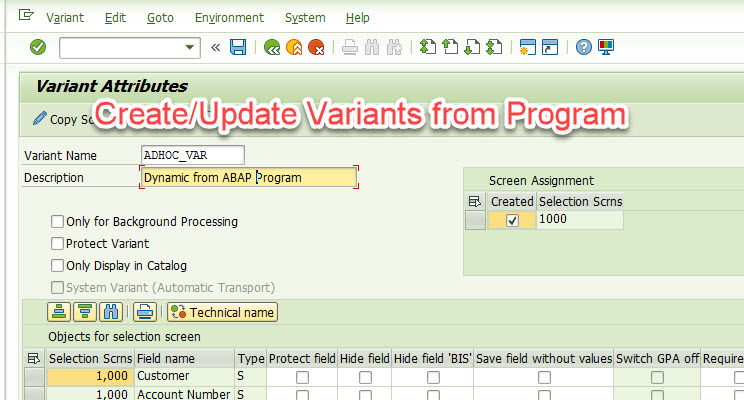 Creating Variants from SAP Program |